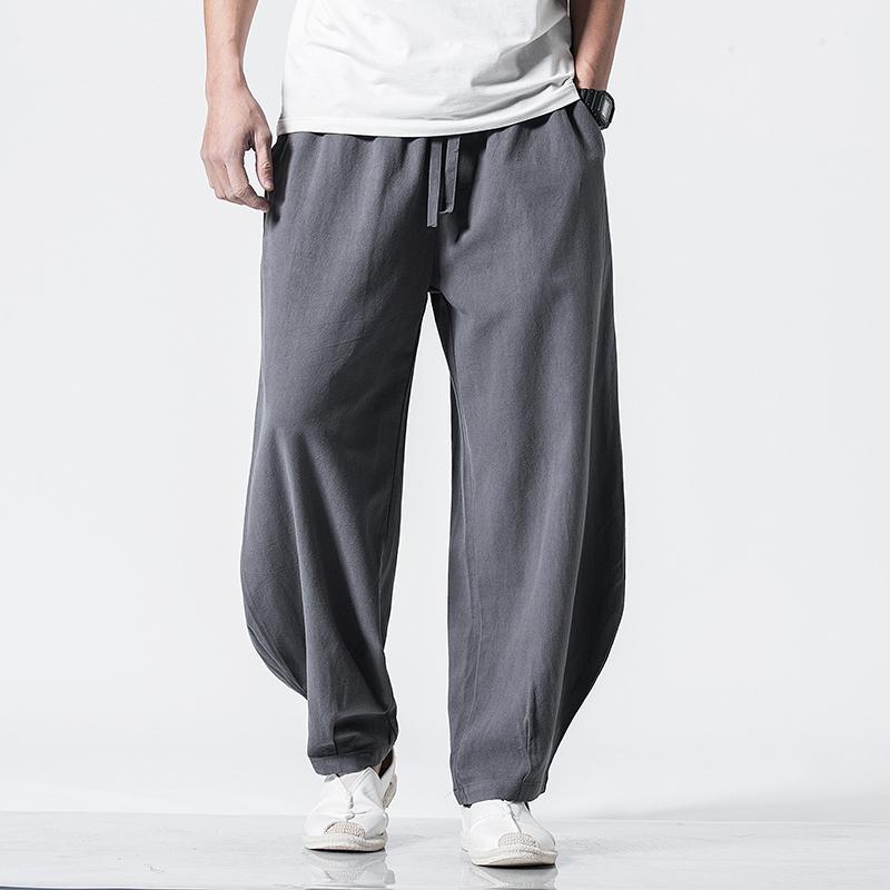 春夏新款中国风棉麻休闲长裤男宽松大码灯笼裤QT6008-1/K028/P65