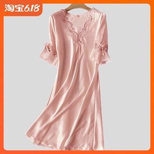 宽松连衣裙家居服 性感冰丝短袖 真丝绸蕾丝大码 睡衣女夏季 睡裙薄款