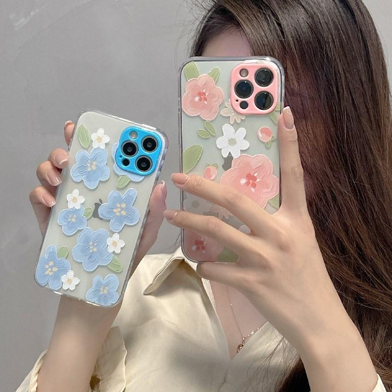 中國代購|中國批發-ibuy99|手机套|水彩花朵适用iPhone11苹果12Pro Max女软X手机壳XS套XR侧边8plus