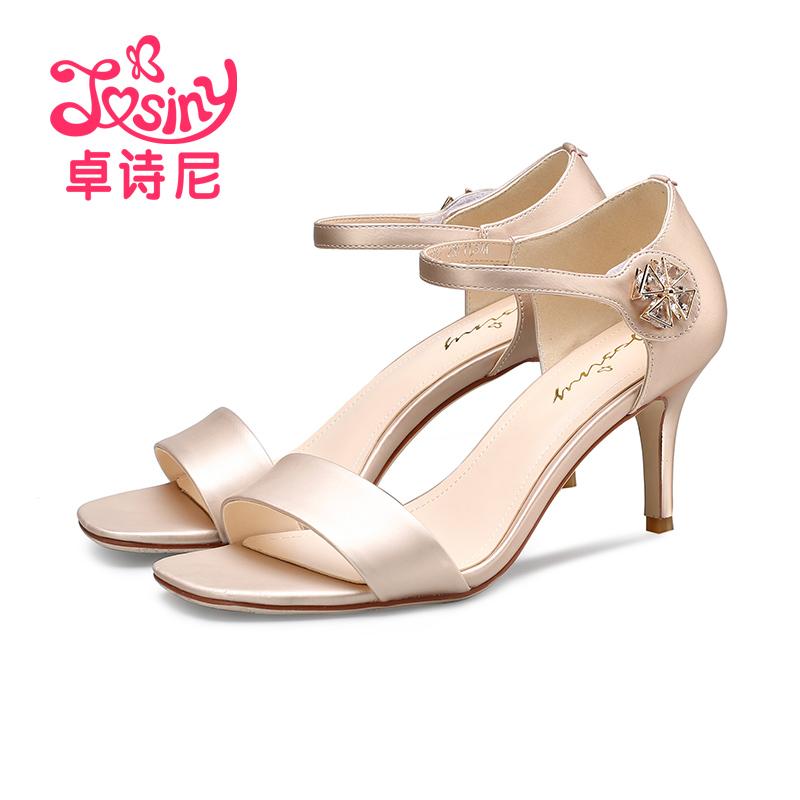 卓诗尼夏季新款高跟细跟女鞋露趾水钻魔术贴凉鞋
