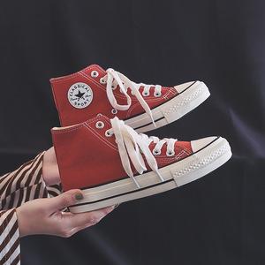 2019潮鞋高帮鞋子女帆布鞋女学生韩版百搭街拍板鞋子学院风基础鞋