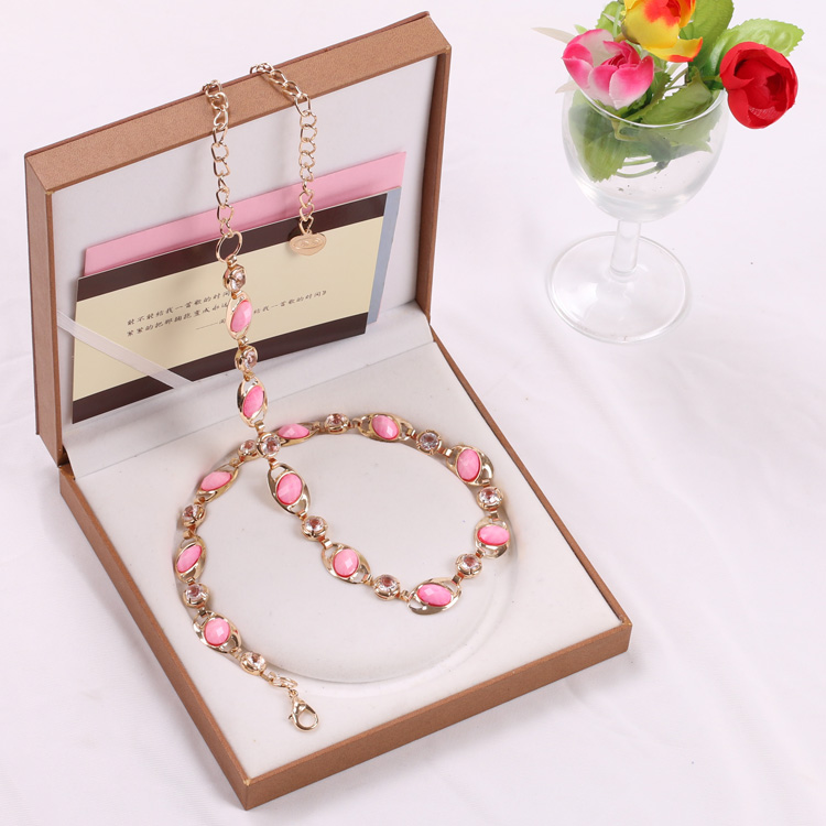 Rhinestone inlaid with metal waist chain, female gem hook, fashion decoration, all kinds of small belt, waist cover, fat mm200kg