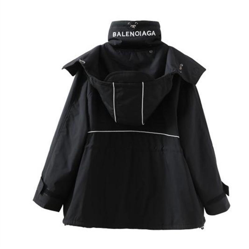 2020年秋冬新款原宿宽松百搭黑色中长款连帽冲锋衣风衣外套棉服女