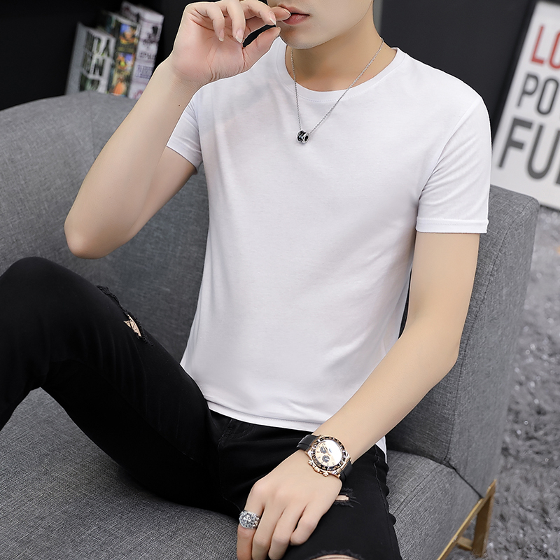 Europe 2020 new summer mulberry silk short sleeve T-shirt with a base of pure white round neck and slim fitting cotton wool top
