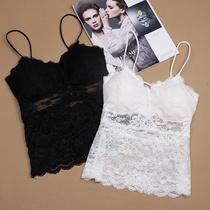 二件装新款爆款性感蕾丝吊带黑色裹胸后背交叉长款打底背心女包邮