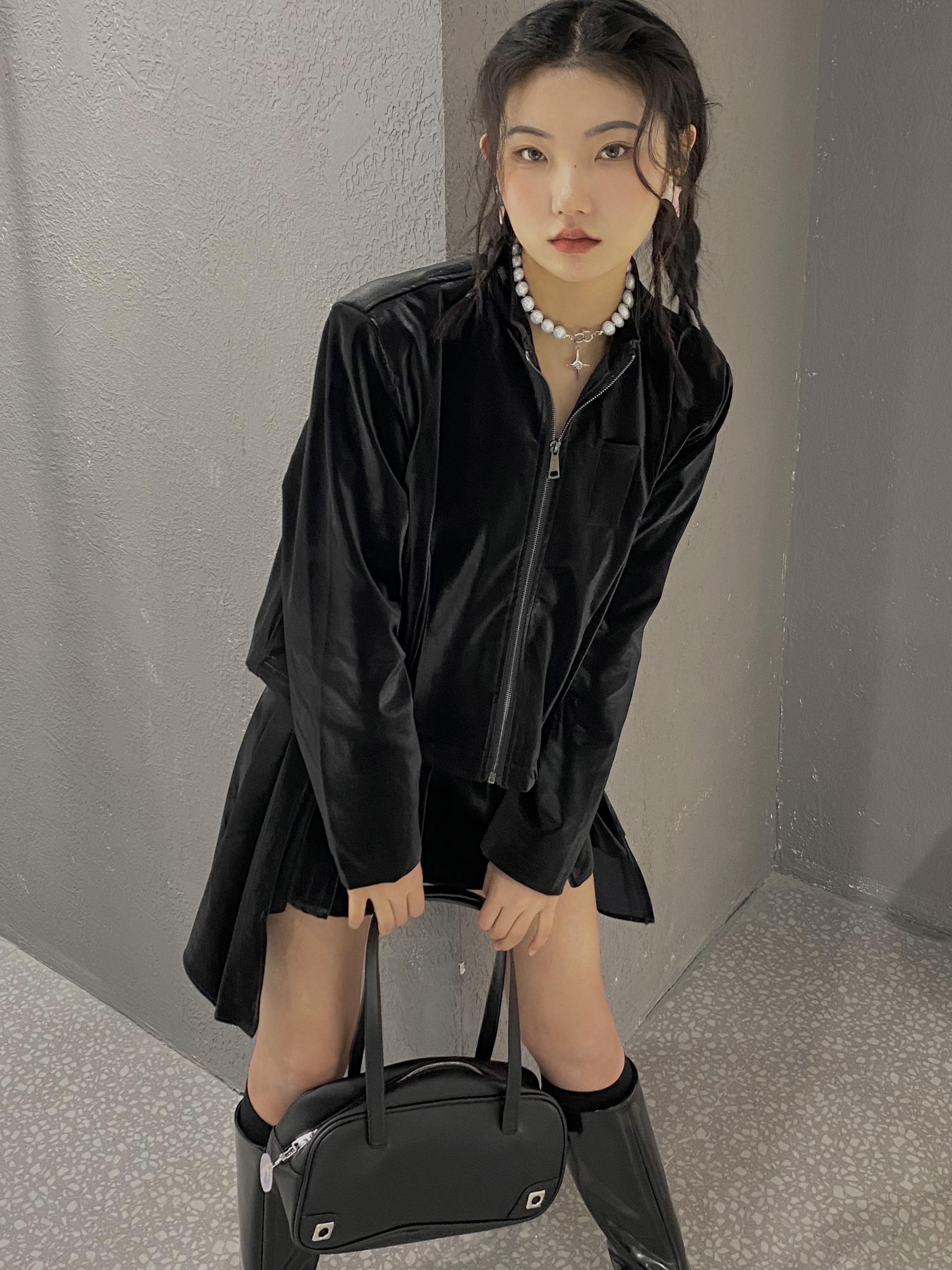 CHILLIPUSS原创设计丝绒光感纹理皮衣外套女春季新款款宽松夹克薄