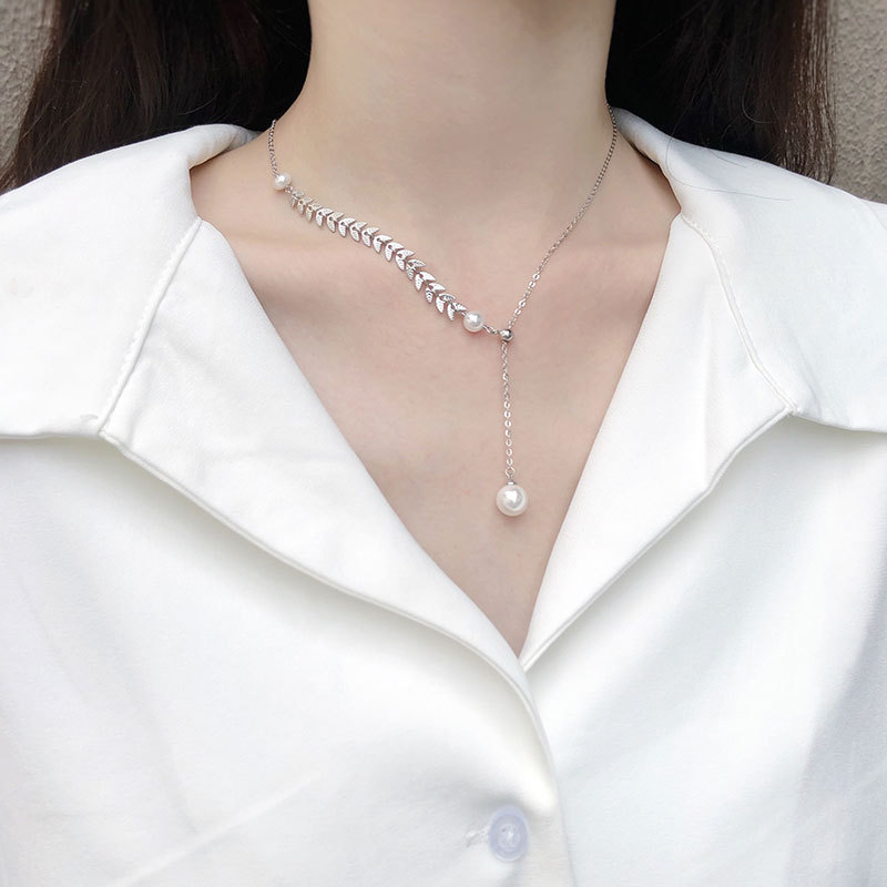 Ins925 full body Sterling Silver wheat ear pearl necklace womens fashion net red popular decoration simple temperament neck chain clavicle chain