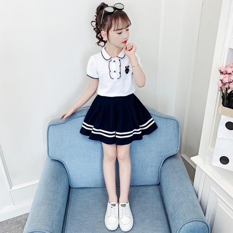 女童夏装洋气套装裙2021新款儿童纯棉洋气Tt百褶裙韩版网红两件套