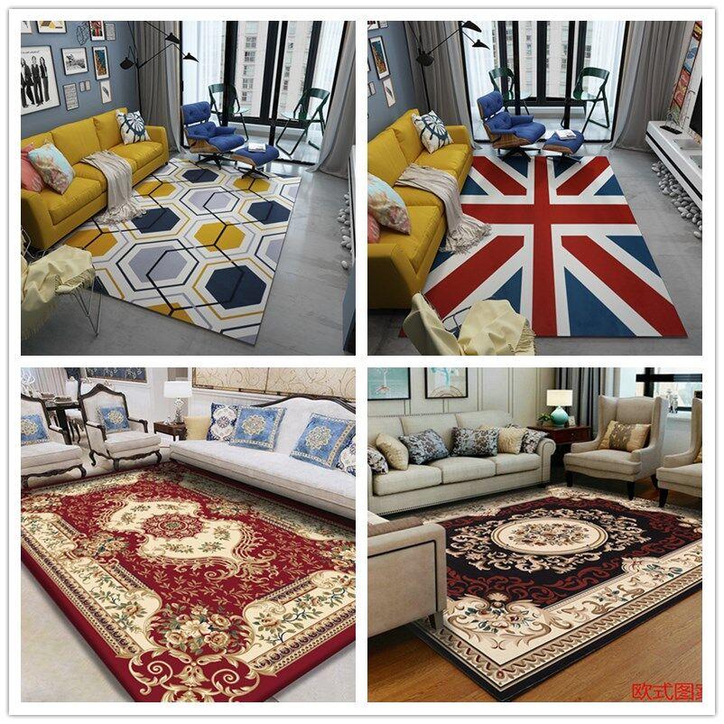 Simple IKEA short hair geometric Nordic living room carpet modern sofa coffee table carpet bedroom bedside European carpet