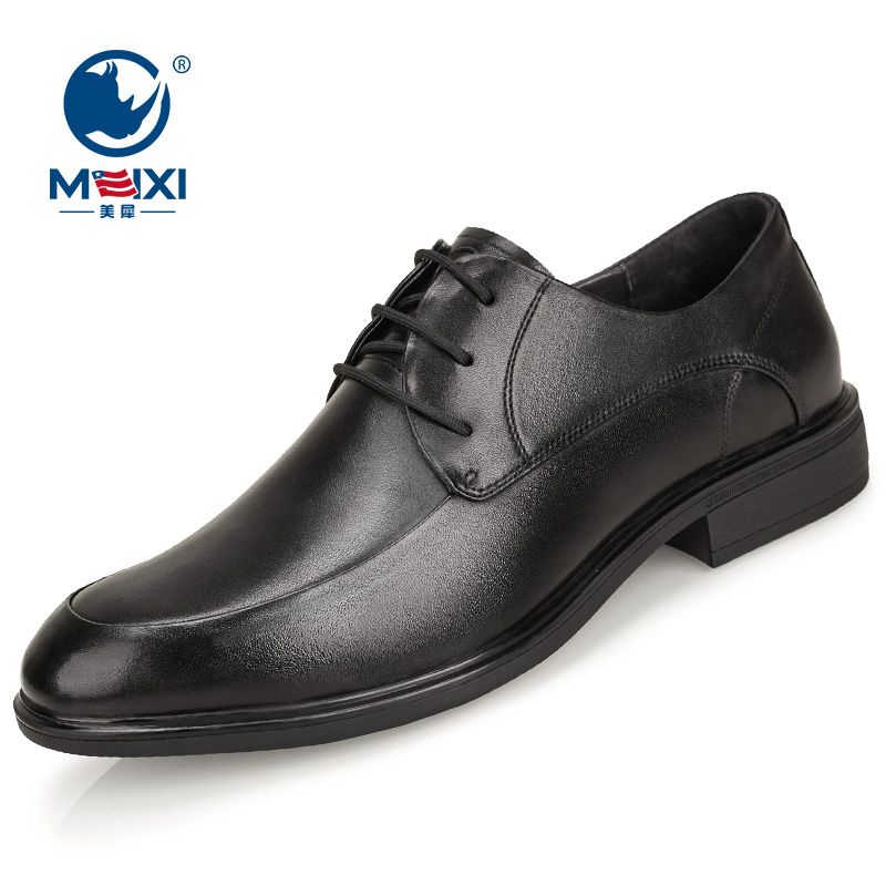 American rhino Leather Mens autumn and winter new business leather casual round head Derby shoes British formal work shoes
