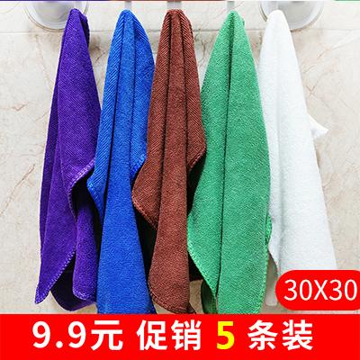 厨房保洁专用小方巾清洁布卫生间擦手吸水 不掉毛擦玻璃毛巾5条装