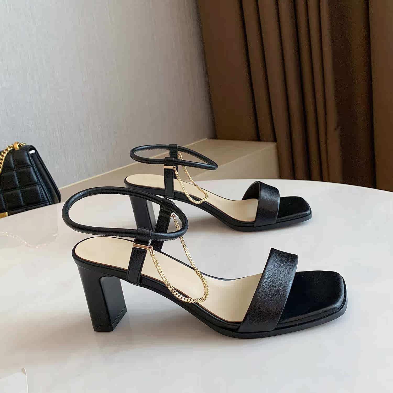 时尚凉鞋女百搭丽DUSTOY头层牛皮高跟凉鞋女2021方头露趾时装女鞋
