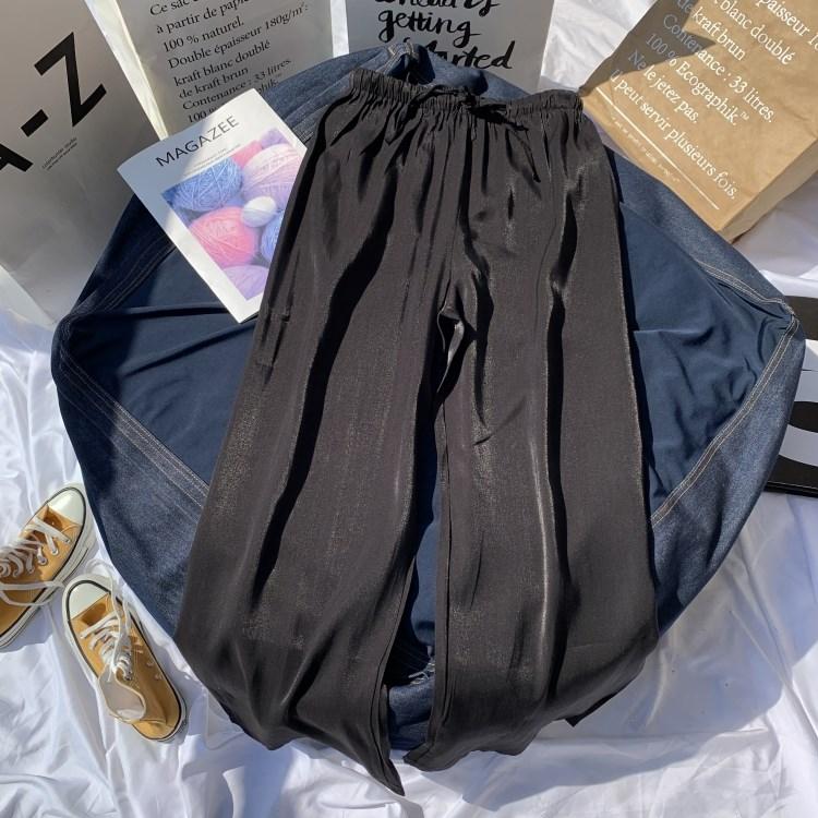 满116.00元可用46.4元优惠券铜氨丝休闲裤女韩版新款亮丝高腰