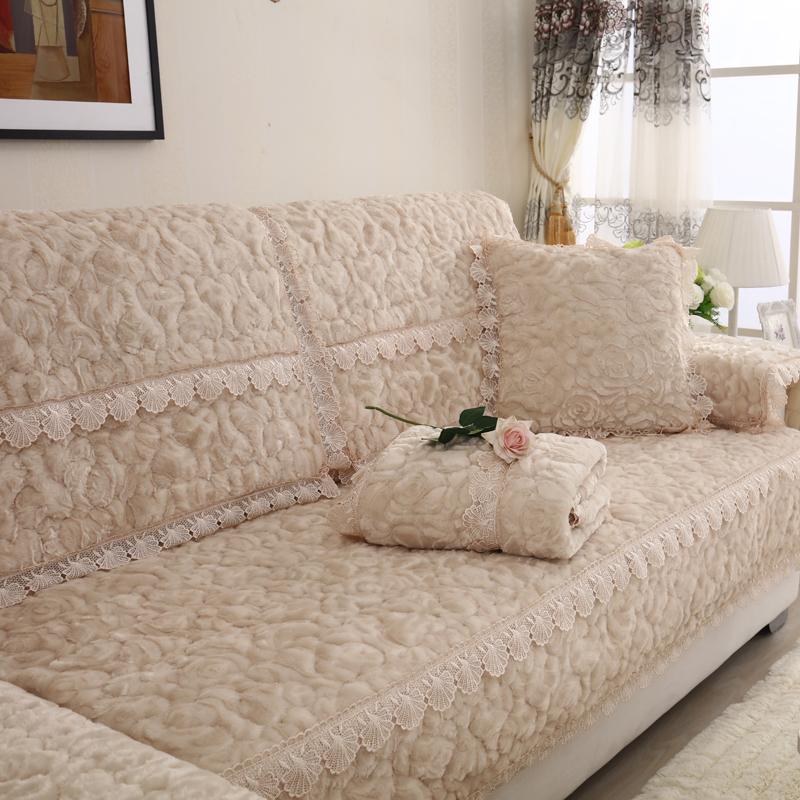 冬季简约现代沙发垫坐垫布艺田园防滑加厚毛绒沙发套沙发巾罩垫子