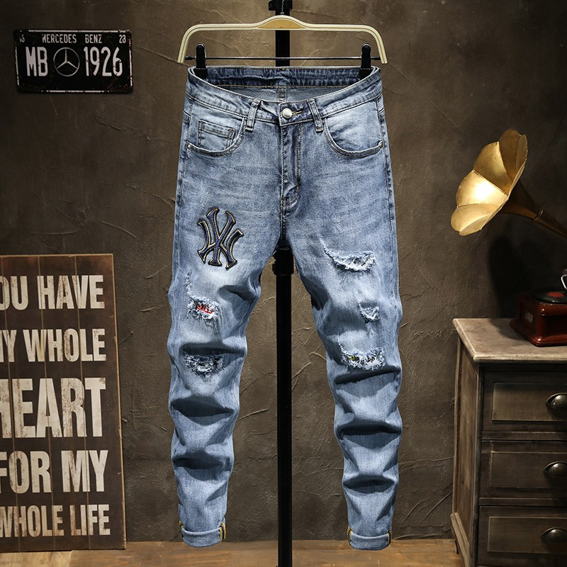 New year fashion brand hole embroidery loose casual elastic low waist trousers European and American high street slim versatile jeans mens pants