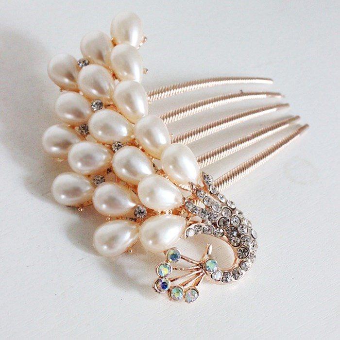水晶饰品发簪时尚女士中年少女伴娘发梳假发戴在头上的发钻子发卡