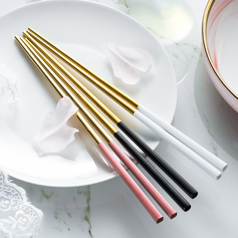 热销57件限时抢购304不锈钢餐具高档创意合金筷子