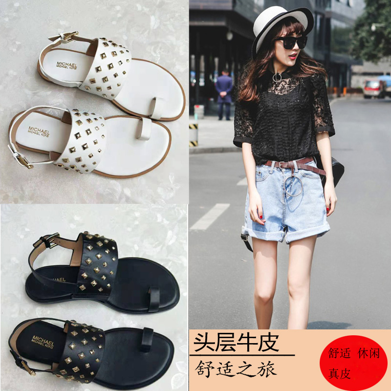 2020 summer womens shoes top layer leather with rivet flat bottom clip open toe foreign trade comfortable fashion sandals
