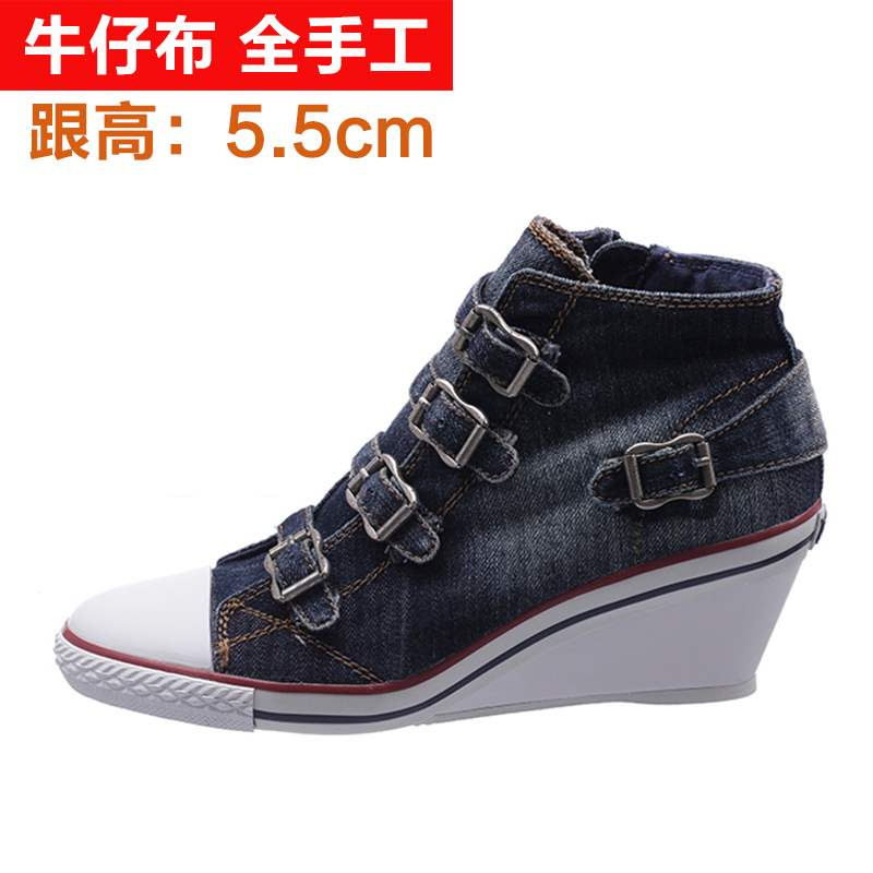 2020 new slope heel denim canvas high top womens shoes buckle casual shoes breathable comfort high heel versatile single shoes