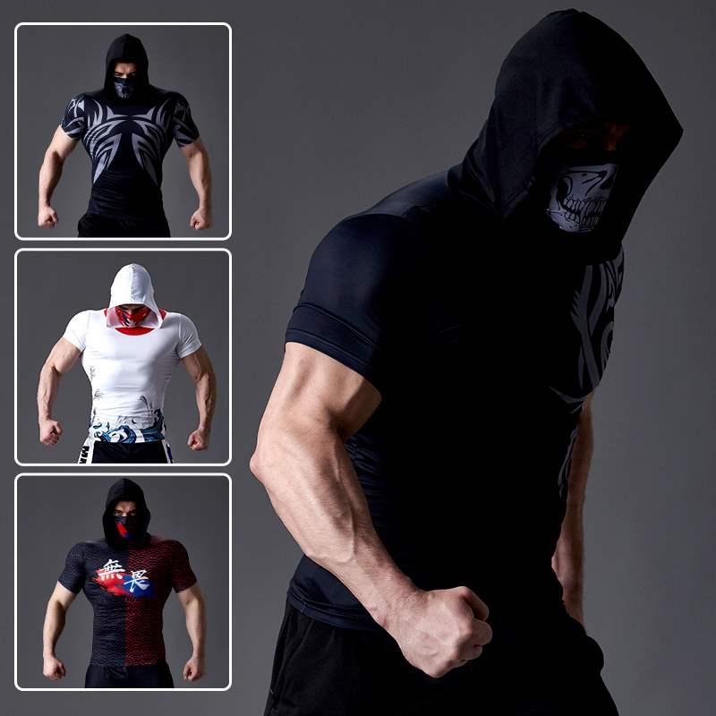 Bodysuit mens fitness sport hooded Bib short sleeve training suit high elasticity fast drying sun proof tattoo T-shirt