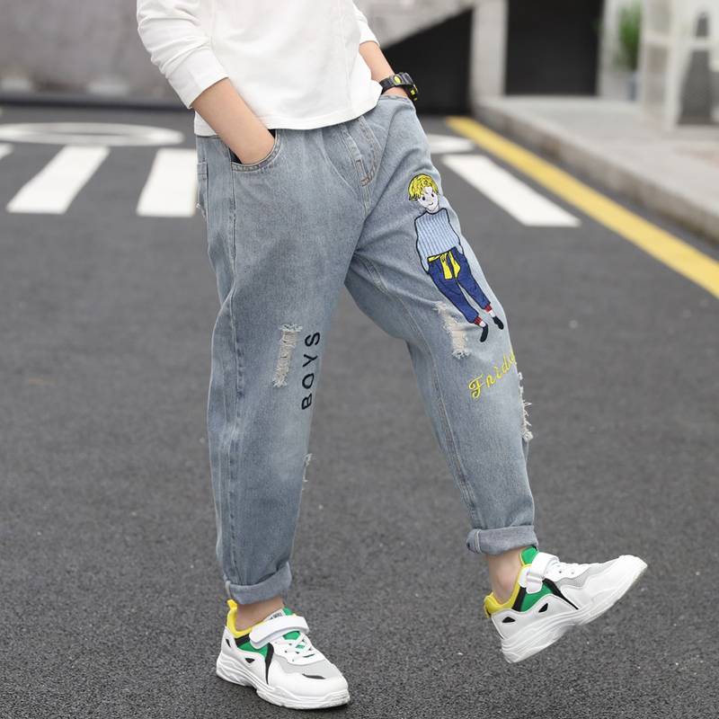 5 boys and girls 8 spring clothes 10 jeans pants 2020 children spring and autumn boys embroidered fashionable pants 12 primary school students 15 years old