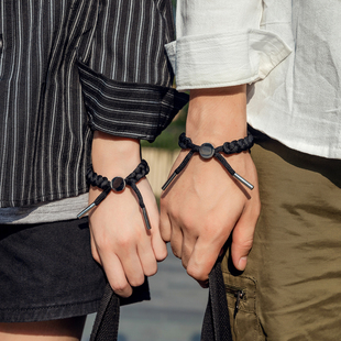 Zuo Danni 原創設計潮牌編織手繩男女款簡約刻字情侶學生運動手鍊