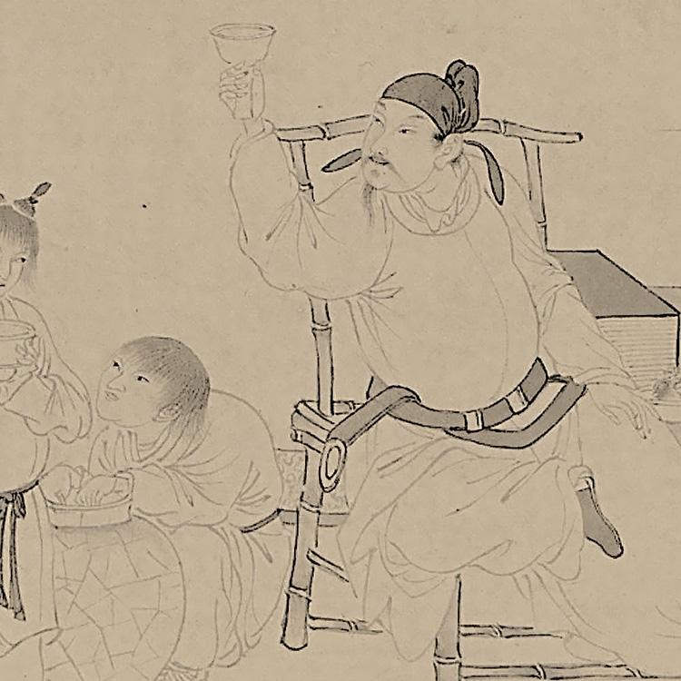 精品故宫博物院藏画24x426cm真迹复制品饮中八仙图尤求明1:1