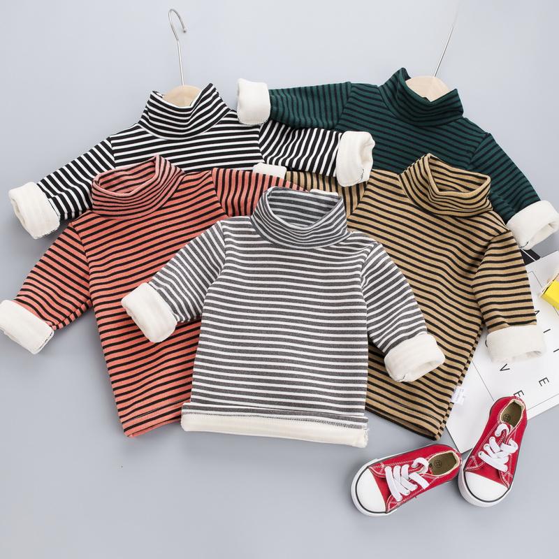 童装冬装打底衫男童女童上衣男女宝宝高领条纹长袖T恤加绒打底衫