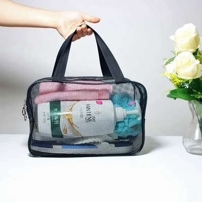 Transparent plastic mesh wash bag portable bath pocket portable business trip bath storage bag fitness bath cosmetic bag female