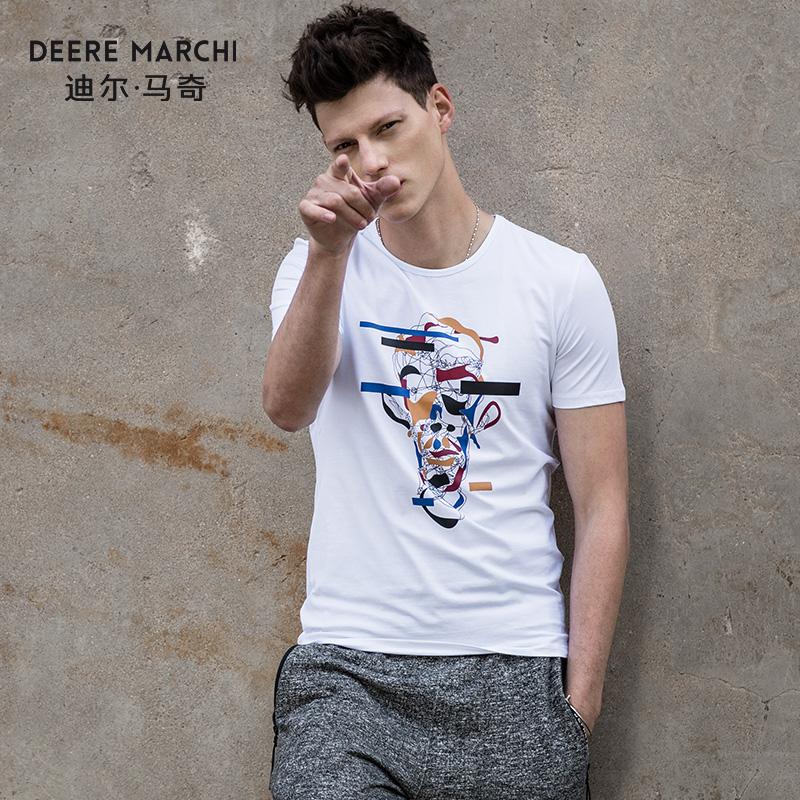 迪尔马奇2018夏季新款男士短袖T恤 抽象线条印花修身半袖潮M01900