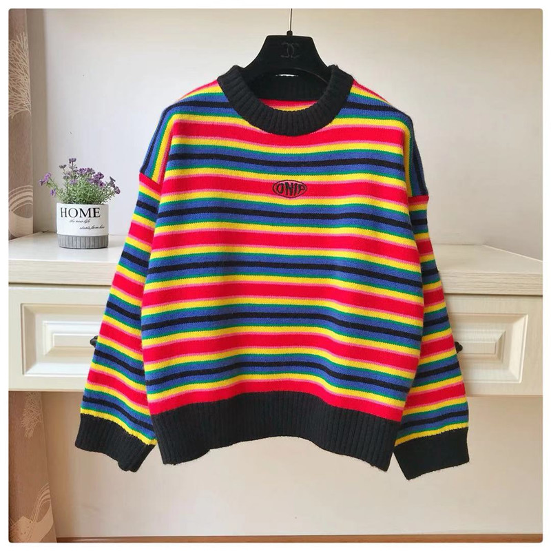 Striped Pullover loose casual autumn new sweater womens super fire ins Korea Kaya same rainbow sweater