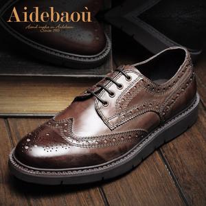 爱得堡LC8英伦复古男鞋潮流厚底增高巴洛克鞋雕花布洛克皮鞋