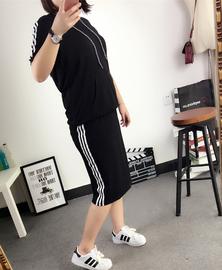 加肥加大码女装200斤胖妹妹夏装新款胖mm休闲运动显瘦套装半身裙