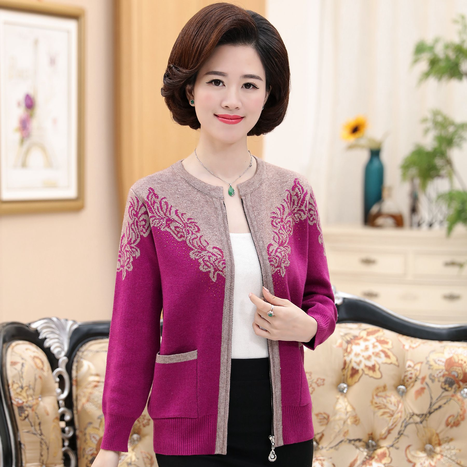 Autumn clothes for female mothers wear loose 30-40-50 year old peoples autumn and winter bottomed cardigan sweater coat