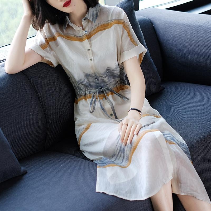 2018夏季新款女装时尚印花短袖收腰显瘦气质宽松中长款亚麻连衣裙