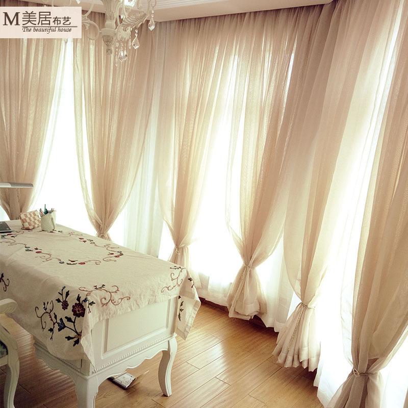 定制亚麻窗帘纱帘纱幔装饰美式卧室客厅飘窗落地窗帘遮光隔断窗纱