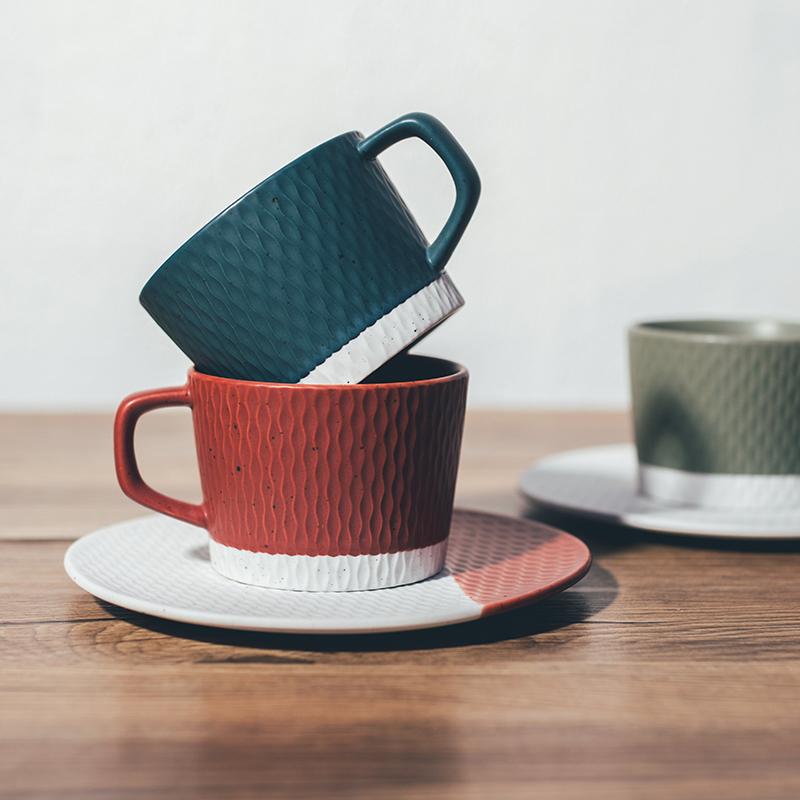 限6000张券北欧ins风复古咖啡馆办公室水杯粗陶瓷日式手冲挂耳咖啡杯碟套装