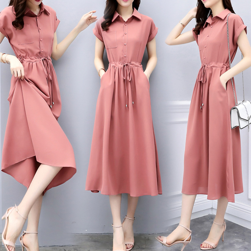 2020 summer new temperament pink dress womens short sleeve medium length waist shirt long skirt spring summer skirt