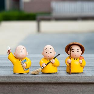 贤二小和尚家居创意装工艺品办公室树脂公仔摆件礼盒版官方正版