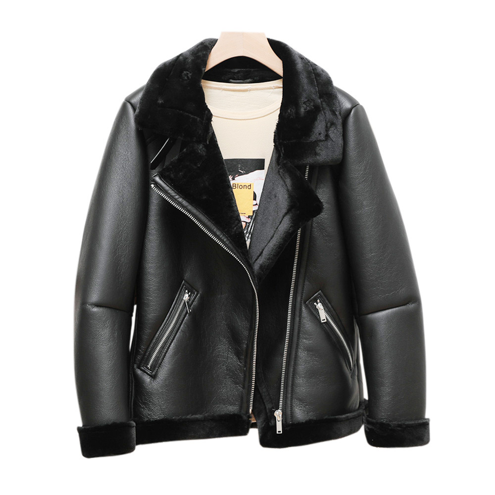 跨境速卖通皮毛一体翻领PU皮衣外套2020冬季新款翻毛领保暖皮夹克