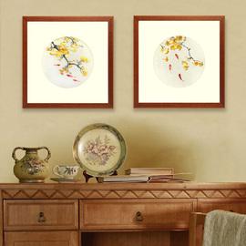 湘绣手工刺绣成品客厅装饰画花开富贵中式挂画背景墙壁熊猫遮挡板