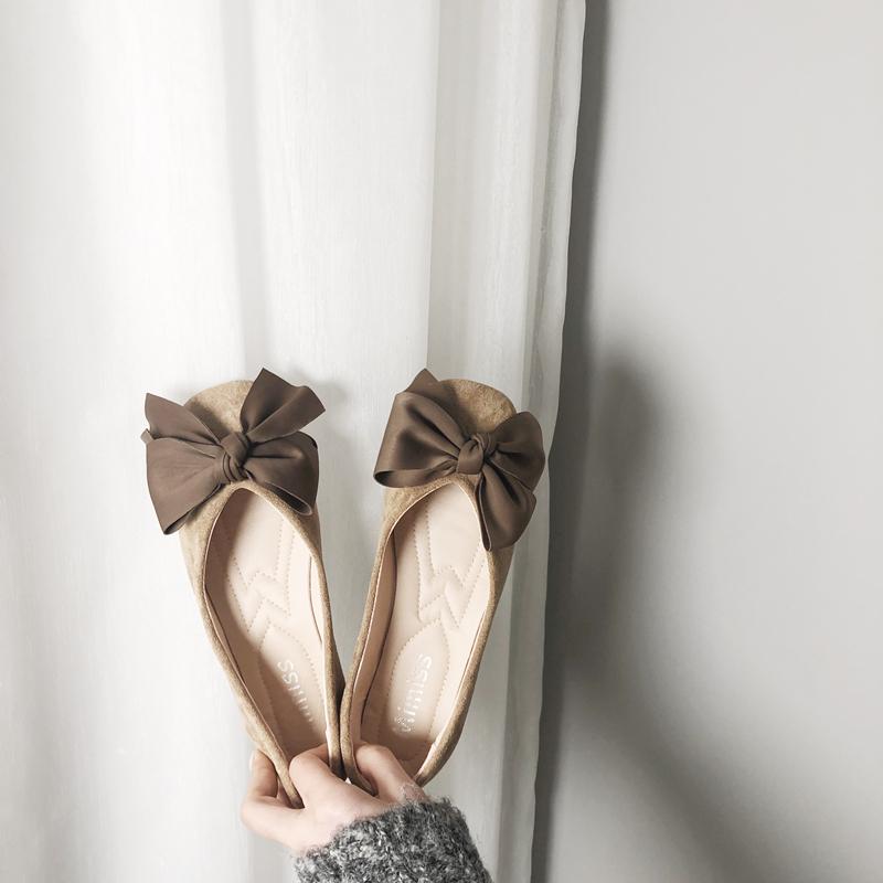 欧美风2019春夏季新款女鞋子大码蝴蝶结布面浅口方头平跟平底单鞋