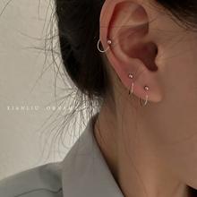养耳洞耳钉女纯银简约冷淡风小圆圈豆豆耳骨钉2021年新款潮耳骨环