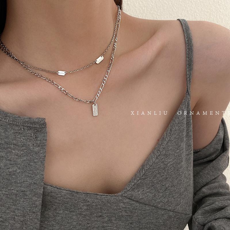 设计感双层项链女锁骨链简约气质短款卫衣链毛衣链轻奢小众脖颈链