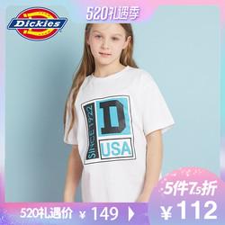 dickies童2019夏新男女童组合印花宽松圆领短袖T恤童中性短袖T恤
