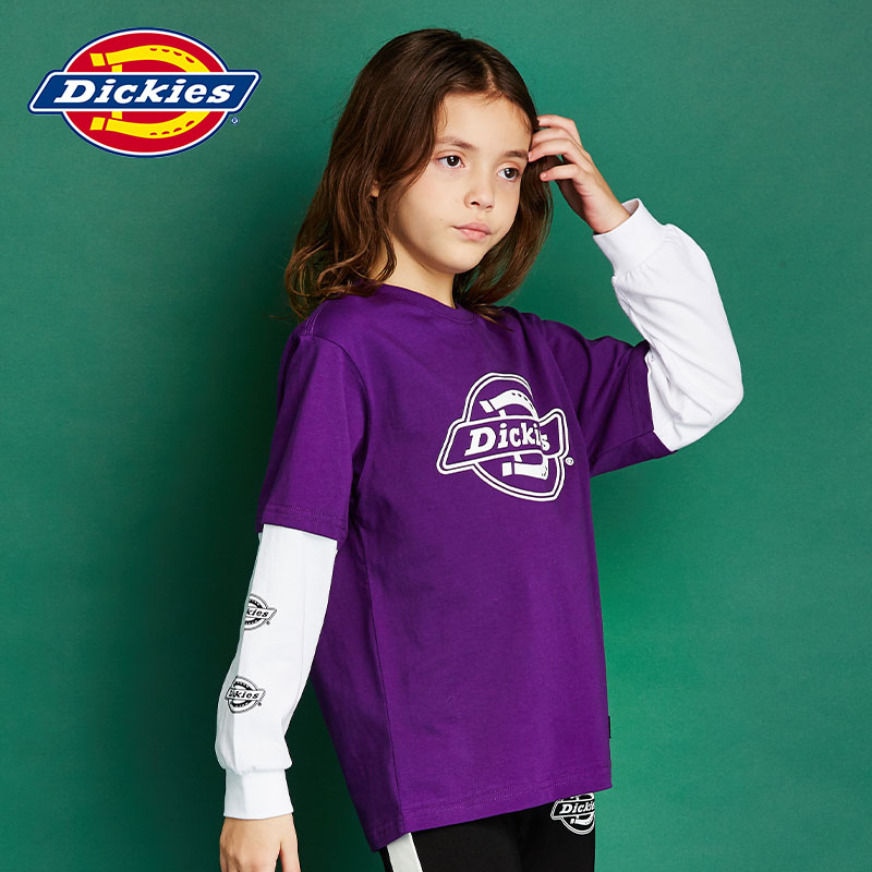 Dickies children's clothing spring and autumn new Zhongda children's logo printing fake two long sleeve t men's and women's round neck loose t