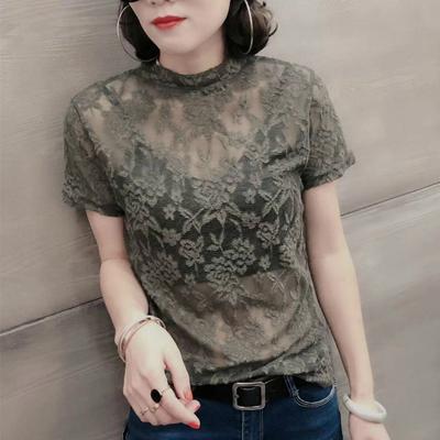 圆领蕾丝修身短袖上衣女性感纯色简约外穿气质显瘦弹力T恤打底衫