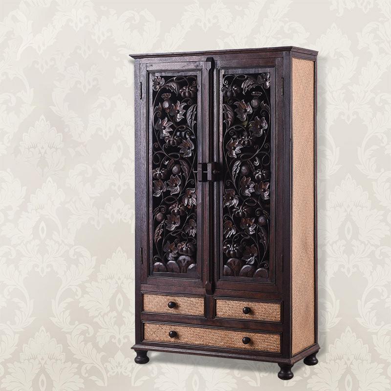中式实木家具卧室定制复古二门推拉门抽屉组装整体衣柜立柜储物3486.00元包邮