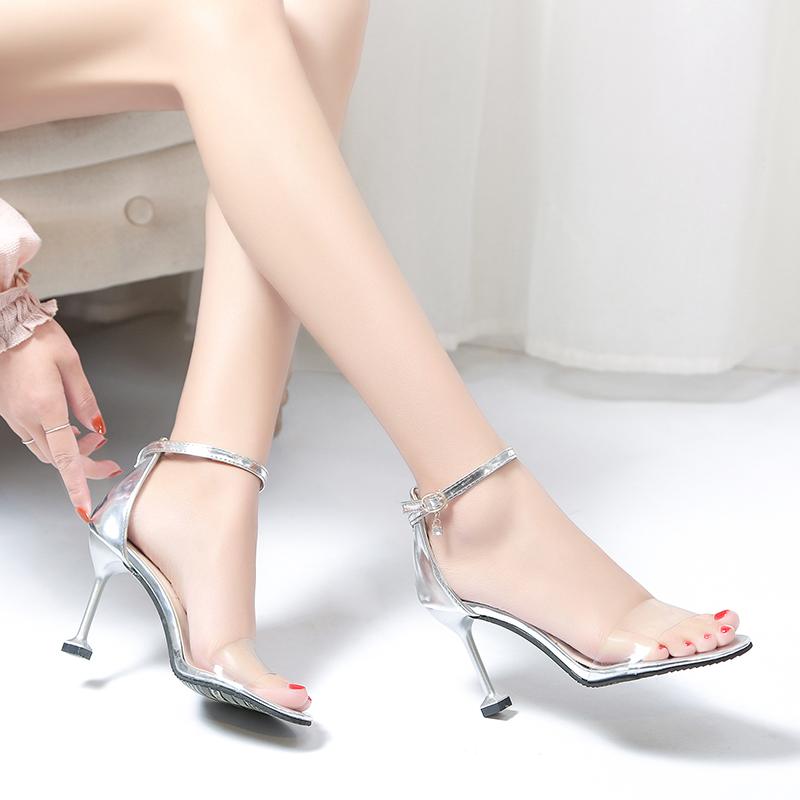 透明高跟鞋女細跟尖頭韓版百搭貓跟鞋一字扣露趾涼鞋性感銀色女鞋