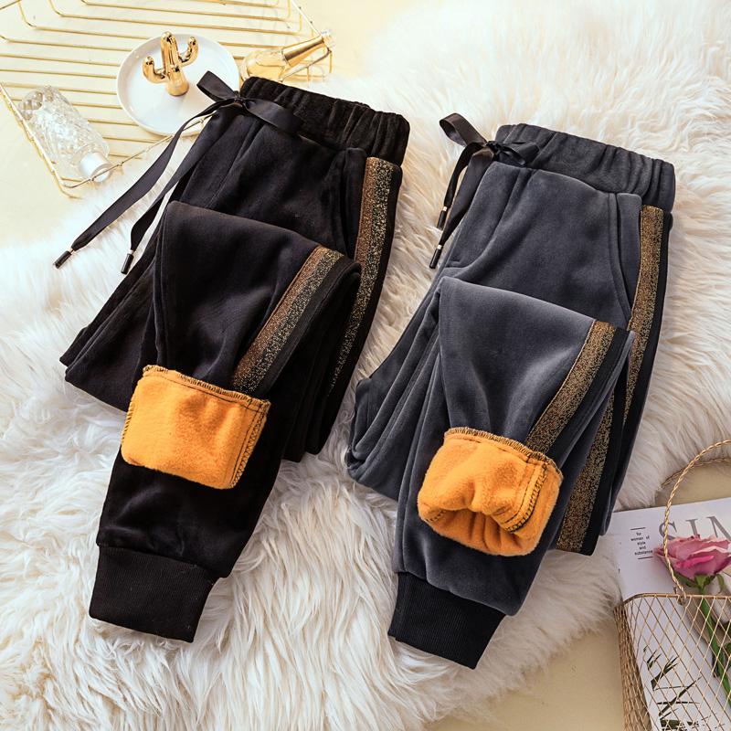 加肥大码女装洋气加绒加厚休闲裤 200斤胖妹妹减龄显瘦束脚哈伦裤